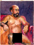 Music Memorabilia:Original Art, Jerry Garcia Nude Man With Beard Painting (undated)....