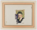 Books:Prints & Leaves, Signed Hand-Painted Color Portrait of Woman. Approx. 10.25 x 12.5inches. Matted. Very good....