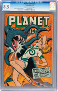 Golden Age (1938-1955):Science Fiction, Planet Comics #52 (Fiction House, 1948) CGC VF+ 8.5 Cream tooff-white pages....