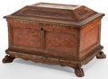Decorative Arts, Continental, AN ITALIAN RENAISSANCE STYLE GILT AND POLYCHROME WOOD BOX . 17thcentury (in part). 13-3/4 inches high x 20 inches long x 15...