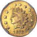 California Fractional Gold, 1872 $1 Indian Round 1 Dollar, BG-1207, R.4, MS62 Prooflike NGC....