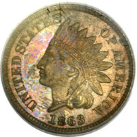 1863 1C One Cent, Judd-299, Pollock-359, R.3, MS63 Brown PCGS. CAC....(PCGS# 60453)