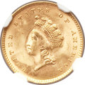 Gold Dollars, 1854 G$1 Type Two MS64 NGC. CAC....