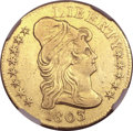 Early Half Eagles, 1803/2 $5 -- Improperly Cleaned -- NGC Details. XF. BD-3, R.4....