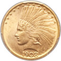 Indian Eagles, 1908-D $10 No Motto MS64 PCGS. CAC....