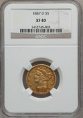 Liberty Half Eagles, 1847-D $5 XF40 NGC. Variety 16-M....
