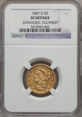 Liberty Half Eagles: , 1847-D $5 -- Cleaned, Damaged -- NGC Details. XF. NGC Census:(15/115). PCGS Population (21/105). Mintage: 64,405. Numismed...