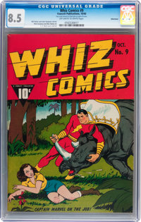 Whiz Comics #9 Allentown pedigree (Fawcett Publications, 1940) CGC VF+ 8.5 Off-white to white pages