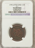 Half Cents: , 1795 1/2 C Lettered Edge -- Corroded -- NGC Details. VG. C-1. NGCCensus: (2/48). PCGS Population (6/113). Mintage: 139,69...