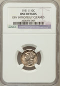 Mercury Dimes, 1931-S 10C -- Obv Improperly Cleaned -- NGC Details. UNC. NGCCensus: (0/274). PCGS Population (1/378). Mintage: 1,800,...