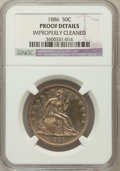 Proof Seated Half Dollars: , 1886 50C -- Improperly Cleaned -- NGC Details. Proof. NGC Census:(3/220). PCGS Population (6/217). Mintage: 886. Numismedi...