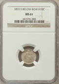 Seated Half Dimes: , 1872-S H10C Mintmark Below Bow MS61 NGC. NGC Census: (35/587). PCGSPopulation (9/508). Mintage: 837,000. Numismedia Wsl. P...