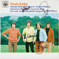 Music Memorabilia:Autographs and Signed Items, Kinks Band Signed Kinda Kinks LP (Canada - Marble Arch1100)....