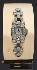 Timepieces:Wristwatch, Diamond & Platinum Custom 14k Gold Cuff Bracelet Wristwatch. ...