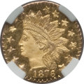 California Fractional Gold: , 1876 25C Indian Round 25 Cents, BG-879, R.4, MS65 Prooflike NGC.NGC Census: (7/0). (#710740)...