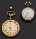 Timepieces:Pocket (post 1900), Swiss 14k Gold & Dior Gold Filled Pocket Watches. ... (Total: 2 Items)