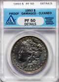 Proof Morgan Dollars, 1893 $1 -- Cleaned, Damaged -- ANACS. PR50 Details. NGC Census:(1/172). PCGS Population (2/187). Mintage: 792. (#7328...