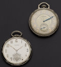 Timepieces:Pocket (post 1900), Elgin & Longines 17 Jewels 12 Size Pocket Watches Runners. ...(Total: 2 Items)