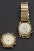 Timepieces:Wristwatch, Two LeCoultre Wrist Alarms For Parts . ... (Total: 2 Items)