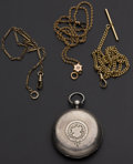 Timepieces:Other , Swiss Sterling 18 Size Key Wind Hunter's Case Pocket Watch PlusThree Gold Filled Watch Chains. ... (Total: 4 Items)