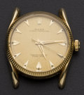 "Timepieces:Wristwatch, Rolex Ref. 1011 ""Bombé"" Lugs 14k Gold Oyster Perpetual. ..."