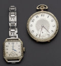 Timepieces:Other , Hamilton Grade 910 Pocket Watch & Vintage Wristwatch. ... (Total: 2 Items)