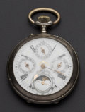 Timepieces:Pocket (pre 1900) , Swiss .900 Silver Moon Phase Calendar. ...