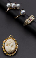 Estate Jewelry:Other , Two Pearl Rings One Diamond & Ruby Ring & One Shell Cameo. ... (Total: 4 Items)