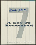 """Baseball Collectibles:Programs, 1969 Mickey Mantle """"A Day to Remember"""" Signed Program...."""