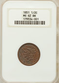 Half Cents: , 1851 1/2 C MS62 Brown NGC. NGC Census: (111/185). PCGS Population(64/108). Mintage: 147,672. Numismedia Wsl. Price for pro...