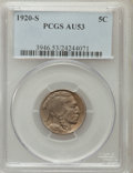 Buffalo Nickels: , 1920-S 5C AU53 PCGS. PCGS Population (22/562). NGC Census: (9/491).Mintage: 9,689,000. Numismedia Wsl. Price for problem f...