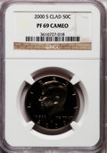 Proof Kennedy Half Dollars: , 2000-S 50C PR69 Cameo NGC. NGC Census: (98/6). PCGS Population(23/0). Numismedia Wsl. Price for problem free NGC/PCGS coi...