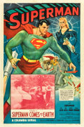"Movie Posters:Serial, Superman (Columbia, 1948). One Sheet (27"" X 41""). Chapter 1 -- ""Superman Comes to Earth."". ..."