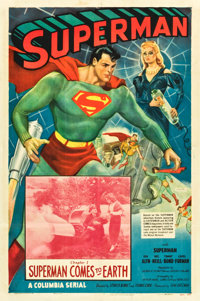 "Superman (Columbia, 1948). One Sheet (27"" X 41""). Chapter 1 -- ""Superman Comes to Earth."""