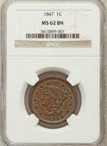 Large Cents: , 1847 1C MS62 Brown NGC. NGC Census: (77/232). PCGS Population(15/90). Mintage: 6,183,669. Numismedia Wsl. Price for proble...