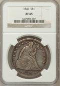 Seated Dollars: , 1846 $1 XF45 NGC. NGC Census: (58/285). PCGS Population (93/293).Mintage: 110,600. Numismedia Wsl. Price for problem free ...