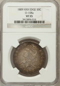 Bust Half Dollars: , 1809 50C XXX Edge VF35 NGC. O-108a. NGC Census: (2/27). PCGSPopulation (9/54). Numismedia Wsl. Price for problem free NG...