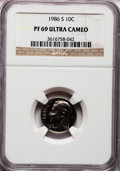 Proof Roosevelt Dimes: , 1986-S 10C PR69 Ultra Cameo NGC. NGC Census: (333/74). PCGSPopulation (2853/173). Numismedia Wsl. Price for problem free ...