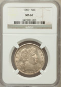 Barber Half Dollars: , 1907 50C MS61 NGC. NGC Census: (17/166). PCGS Population (9/202).Mintage: 2,598,575. Numismedia Wsl. Price for problem fre...