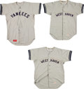 Baseball Collectibles:Uniforms, 1970's New York Yankees Game Worn Lot of 3 Jerseys and 8 Pairs of Pants....