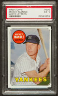 Baseball Cards:Singles (1960-1969), 1969 Topps Mickey Mantle, White Letters #500 PSA EX 5....