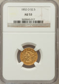 Liberty Quarter Eagles: , 1852-O $2 1/2 AU53 NGC. NGC Census: (57/248). PCGS Population(26/47). Mintage: 140,000. Numismedia Wsl. Price for problem ...