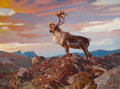 Paintings, CARL CLEMENS MORITZ RUNGIUS (American, 1869-1959). Caribou on the Tundra, 1938. Oil on canvas . 30-1/2 x 40 inches (77.5...