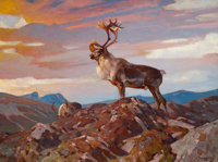 CARL CLEMENS MORITZ RUNGIUS (American, 1869-1959) Caribou on the Tundra, 1938 Oil on canvas 30-1