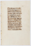 Books:Prints & Leaves, Ca. 16th-Century Latin Manuscript Leaf on Vellum. Faint guide-linesand two rubricated initials. Approx. 7 x 4.5 inches. Ver...