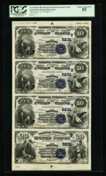 National Bank Notes:Connecticut, Torrington, CT - $10-$10-$10-$20 1882 Date Back Fr. 545/555 TheBrooks NB Ch. # (N)5231 Uncut Sheet. ...