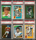Football Cards:Lots, 1950's-1990's Topps, Score PSA-Graded Superstars and HoFers Collection (6). ...