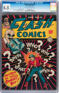 Flash Comics #30 (DC, 1942) CGC FN+ 6.5 Off-white to white pages
