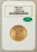 Liberty Eagles, 1882 $10 MS64 NGC. CAC....