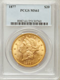 Liberty Double Eagles: , 1877 $20 MS61 PCGS. PCGS Population (181/137). NGC Census:(270/153). Mintage: 397,670. Numismedia Wsl. Price for problem f...